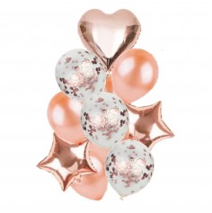 Set Globos Estrellas Corazón Rose Gold  Cotillón Día de los Enamorados