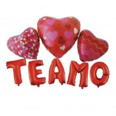 Set Globo Metálico Letras TE AMO Corazón  Cotillón Día de los Enamorados