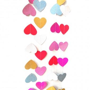 Guirnalda Corazón Glitter  Cotillón Día del Niño/San Valentín
