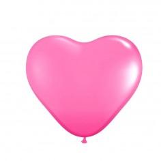 Globo Látex Corazón Rosado x 12  Cotillón Día de los Enamorados