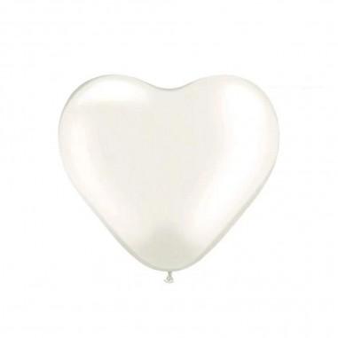 Globo Látex Corazón Blanco x 12  Cotillón Día de los Enamorados