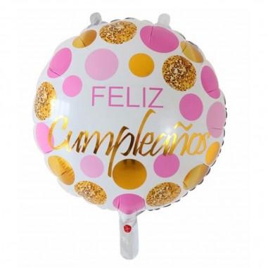 Globo Metálico Feliz Cumpleaños Rose Dorado  Globos Diseños