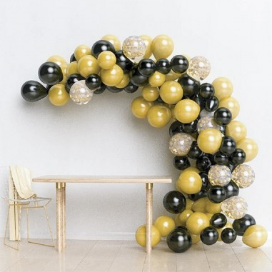 Arco Orgánico de Globos Negro Dorado  Cotillón Día de los Enamorados