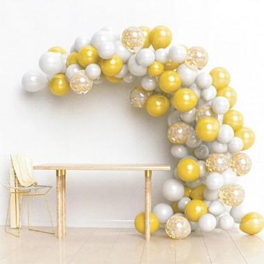 Arco Orgánico de Globos Blanco Dorado  Cotillón Día de los Enamorados