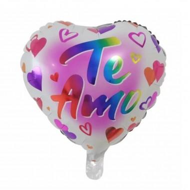 Globo Metálico Corazón Te Amo Arcoíris  Cotillón Día de los Enamorados