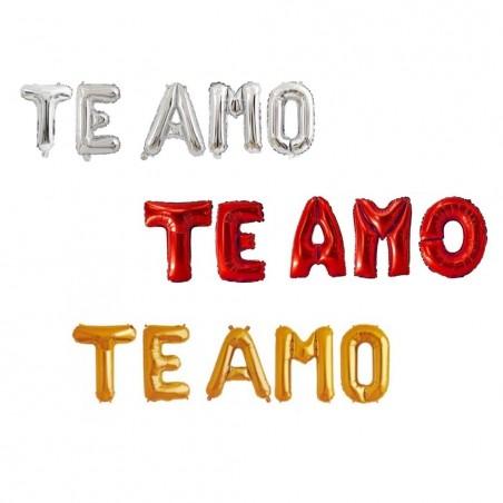 Globo Metálico Letras TE AMO  Cotillón Día de los Enamorados