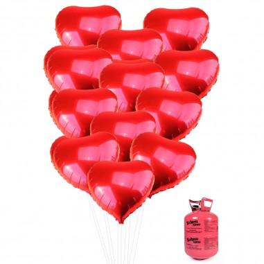 12 Globos Corazón Metálico más BALÓN HELIO  Cotillón Día de los Enamorados