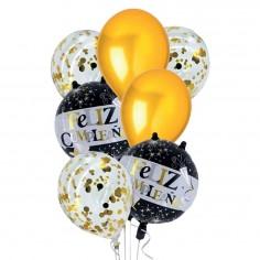 Set Globo Feliz Cumpleaños Negro Dorado  Globos Diseños