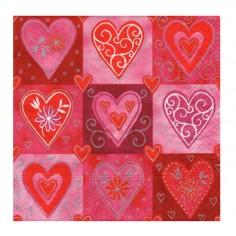 Servilleta San Valentín Corazones  Cotillón Día de los Enamorados