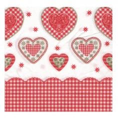 Servilleta San Valentín Corazones Cuadrillé  Cotillón Día de los Enamorados
