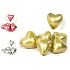 Globos Cromo Corazón x 6  Cotillón Día de los Enamorados