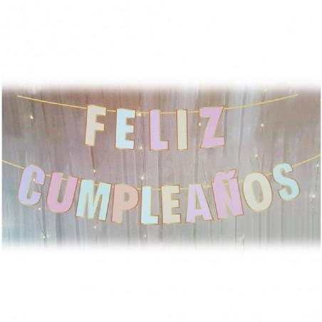 Guirnalda Feliz Cumpleaños Pastel Dorado  Guirnaldas y Colgantes