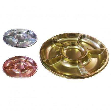 Bandejas Cromo Circular con Divisiones x 3  Línea Metalizado