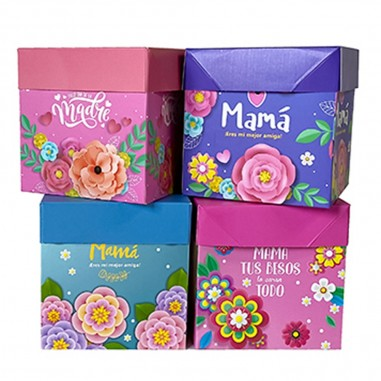 Caja Regalo Mamá 15 x 15 cm  Cotillón Día de la Madre y Enamorados