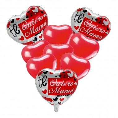 """Set 9 Globos Corazón """"Te Quiero Mamá""""  Cotillón Día de la Madre y Enamorados"""