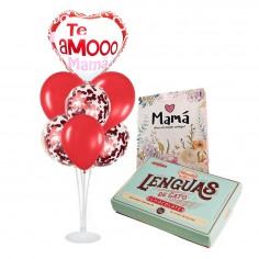 Set 7 Globos + Chocolates Lengüitas de Gatos + Bolsa Mamá  Globos Diseños