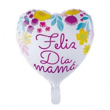 """Globo Corazón """"Feliz Día Mamá"""" Flores  Cotillón Día de la Madre y Enamorados"""