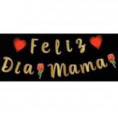 """Guirnalda Dorada """"Feliz Día Mamá""""  Cotillón Día de la Madre y Enamorados"""