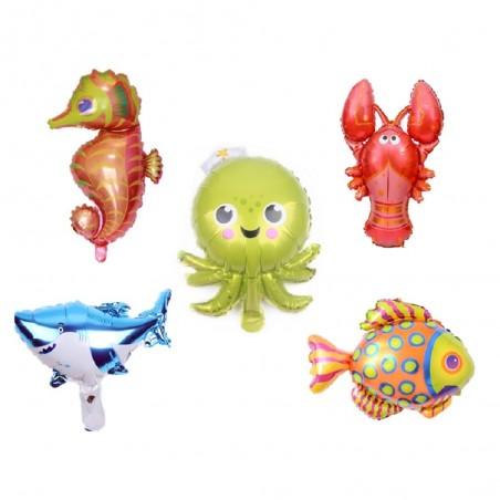 Set Globos Metálicos Animales del Mar Pequeño x 5  Cotillón Sirena