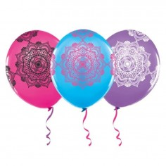 Globo Cumpleaños Mandalas Colores x 12  Cotillón Mandalas