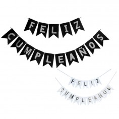 """Guirnalda Banderín """"Feliz Cumpleaños"""" Letras Plateadas Cotillón Activarte Guirnaldas y Colgantes"""