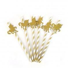 Bombillas Unicornio Kawaii x 6  Cotillón Unicornio