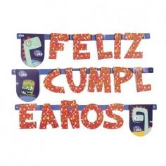 Guirnalda Feliz Cumpleaños Dinosaurio Azul  Cotillon Dinosaurio