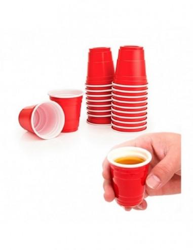 Vaso Shot Rojo x 20  Líneas Cumpleaños