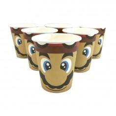 Vasos Cumpleaños Súper Mario x 6  Cotillón Mario Bros