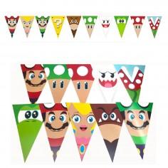 Guirnalda Banderines Súper Mario  Cotillón Mario Bros