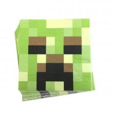 Servilletas Minecraft x 12  Cotillón Minecraft