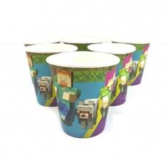 Vasos Cumpleaños Minecraft x 6  Cotillón Minecraft