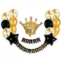 Set Decoración Cumpleaños Corona Negro Dorado  Globos Diseños