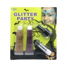 Set Maquillaje Glitter 4 un  Accesorios Cotillón