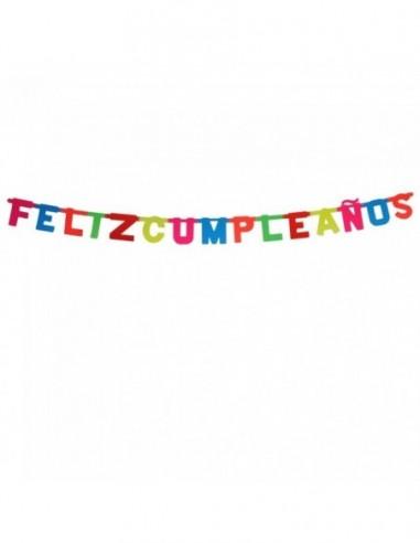 Guirnalda Feliz Cumpleaños Neón Flúor  Líneas Cumpleaños