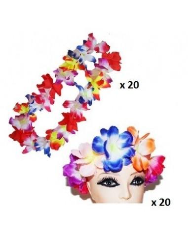 Pack 20 Cintillo Corona Hawaiana + 20 Collar Hawaiano  Pack de Cotillón Productos