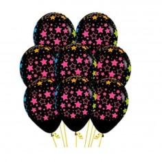 Globo Negro Estrellas Colores x 25  Globos Diseños