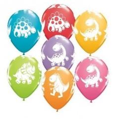 Globo Cumpleaños Dinosaurio Colores x 6  Cotillon Dinosaurio