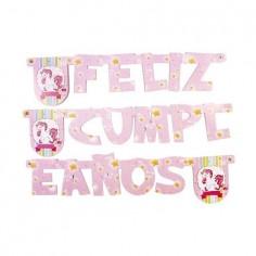 Guirnalda Feliz Cumpleaños Unicornio Rosado $ 1.200