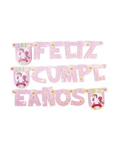 Guirnalda Feliz Cumpleaños Unicornio Rosado  Cotillón Unicornio