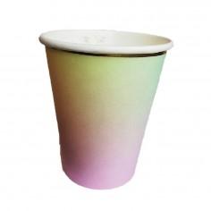 Vaso Diseño Arcoiris Borde Dorado x 6 $ 950