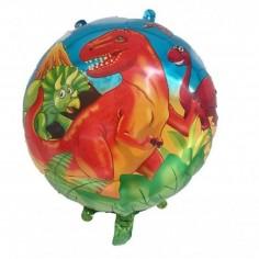 Globo Metálico Dinosaurio Redondo  Cotillon Dinosaurio