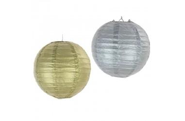 Pantalla Decoración 25 cms Dorado y Plateado  Guirnaldas y Colgantes