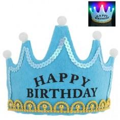 Corona Cumpleaños Luces Celeste  Decoración Cumpleaños y Fiestas