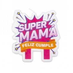 Vela Súper Mamá  Cotillón Día de la Madre y Enamorados