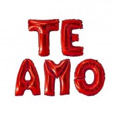 Globo Metálico Letras TE AMO  Cotillón Día de la Mamá y Enamorados
