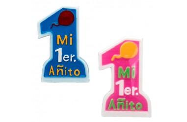 """Vela """"Mi 1er Añito"""" Niño y Niña  Velas"""