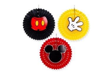 Abanico Decoración Mickey Mouse x 3  Cotillón Mickey Mouse