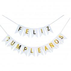 """Guirnalda Banderín """"Feliz Cumpleaños"""" Blanco Dorado Grande Cotillón Activarte Guirnaldas y Colgantes"""