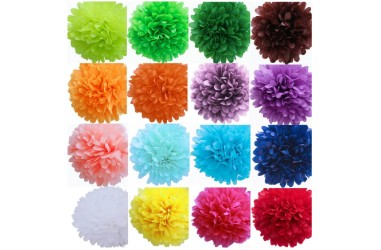 Pompón Papel 25 cms Colores Cotillón Activarte Guirnaldas y Colgantes